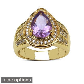 Sheila Kay 14k Yellow Goldplated Brass Genuine Pear Gemstone and White Topaz Ring