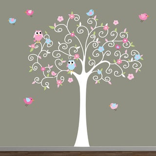 Swirl Tree Pink and Blue Wall Decal