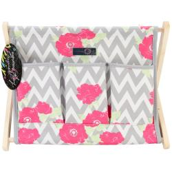 Everything Mary Chevron Roses Fold-Up Caddy 15 X10.5 X12 -