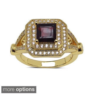 Sheila Kay 14k Yellow Goldplated Square-cut Gemstone and White Topaz Brass Ring