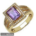 Sheila Kay 14k Yellow Gold Plated Octagon-cut Gemstone and White Topaz Brass Ring