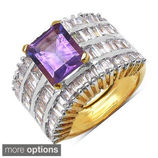 Sheila Kay 14k Yellow Goldplated Octagon Gemstone and White Cubic Zirconia Brass Ring