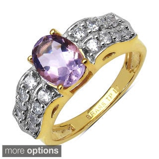 Sheila Kay 14k Yellow Goldplated Gemstone and Round-cut White Cubic Zirconia Brass Ring