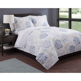 Lavender Floral Print 3-piece Quilt Set