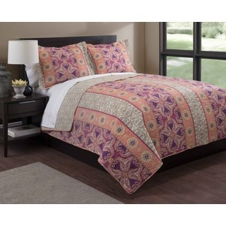 Bohemian Orange/Purple Floral 3-piece Quilt Set