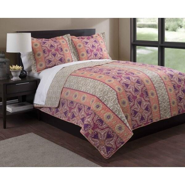 Bohemian Orange/Purple Floral 3-piece Quilt Set