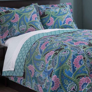 Teal Paisley 3-piece Quilt Set