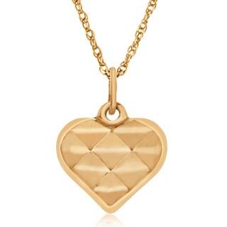 Gioelli 14k Yellow Gold Diamond-cut Heart Pendant Necklace
