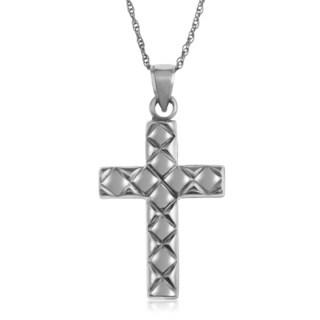 Gioelli 14k White Gold Textured Cross Pendant Necklace