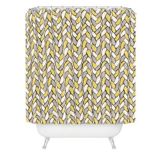 Bianca Yellow and Grey Braids Mustard Shower Curtain