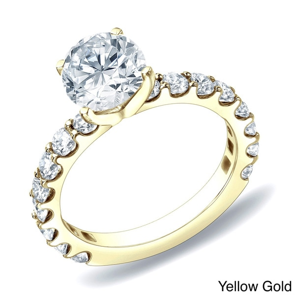 Auriya 14k Gold 1 1/2ct TDW Round Diamond Solitiare Engagement Ring (H-I, SI1-SI2)