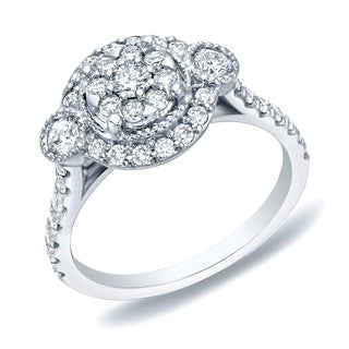 Auriya 14k White Gold 1ct TDW Diamond Cluster Engagement Ring (H-I, SI1-SI2)