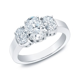 Auriya 14k White Gold 2ct TDW Certified Three-stone Diamond Ring (I-J, VS1-VS2)