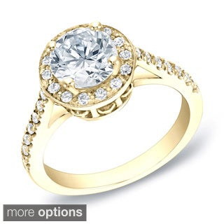 Auriya 14k Gold 1 3/5ct TDW Certified Round Halo Diamond Engagement Ring (H-I, SI1-SI2)