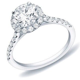 Auriya 14k Gold 1 1/4ct TDW Certified Round Halo Diamond Engagement Ring (H-I, SI1-SI2)