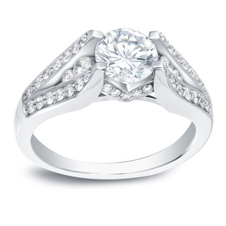 Auriya 14k White Gold 1 3/4ct TDW Certified Diamond Engagement Ring (H-I, SI1-SI2)