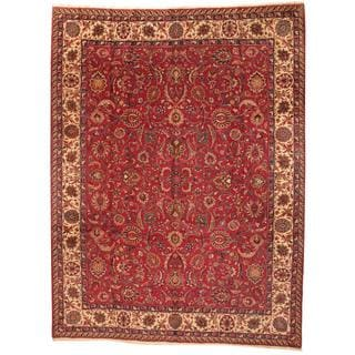 Antique 1960's Persian Hand-knotted Mashad Red/ Ivory Wool Rug (9'10 x 13')