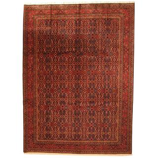 Antique 1960's Persian Hand-knotted Navy/ Red Wool Rug (10'3 x 14')