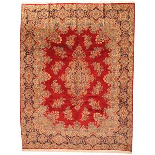 Antique 1950's Persian Hand-knotted Kerman Red/ Ivory Wool Rug (9'10 x 12'9)