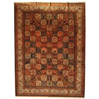 Antique 1970's Persian Hand-knotted Bakhtiari Rust/ Ivory Wool Rug (10'3 x 13'10)