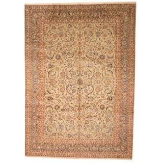 Hand-knotted Herat Oriental Persian Antique Isfahan Khaki and Olive Wool Rug (10' x 13'11)