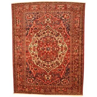 Antique 1950's Persian Hand-knotted Bakhtiari Red/ Ivory Wool Rug (10'3 x 13'4)