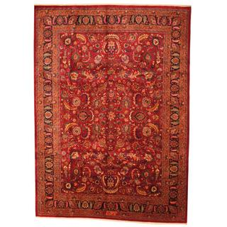 Antique 1960's Persian Hand-knotted Mashad Burgundy/ Navy Wool Rug (9'8 x 12'8)
