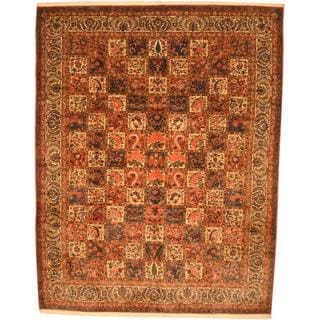 Antique 1970's Persian Hand-knotted Bakhtiari Peach/ Blue Wool Rug (10'3 x 13'1)