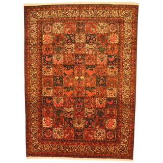 Antique 1970's Persian Hand-knotted Red/ Ivory Wool Rug (9'8 x 13'5)