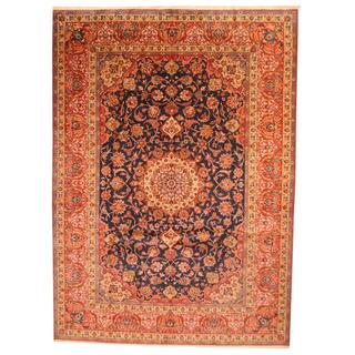 Antique 1960's Persian Hand-knotted Isfahan Navy/ Red Wool Rug (10'1 x 14')