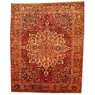 Antique 1950's Persian Hand-knotted Bakhtiari Rust/ Peach Wool Rug (10'10 x 13'4)