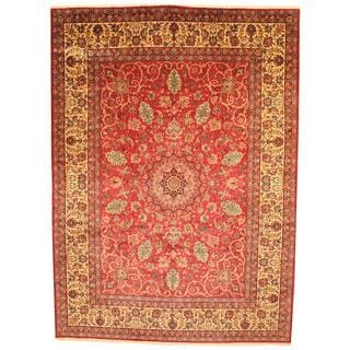 Antique 1970's Persian Hand-knotted Isfahan Red/ Ivory Wool Rug (10'8 x 14'8)