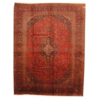 Antique 1950's Persian Hand-knotted Kashmar Red/ Navy Wool Rug (9'5 x 12'3)