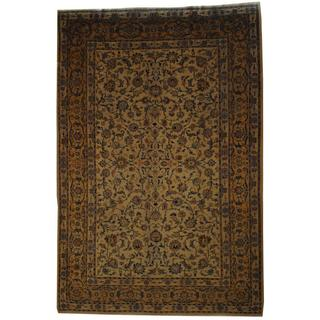 Antique 1970's Persian Hand-knotted Kashan Ivory/ Beige Wool Rug (9'3 x 13'10)