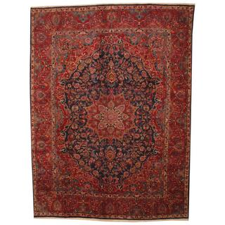 Antique 1960's Persian Hand-knotted Kashmar Navy/ Red Wool Rug (9'7 x 13')