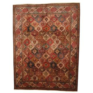Antique 1980's Persian Hand-knotted Tabriz Red/ Ivory Wool Rug (9'10 x 13')