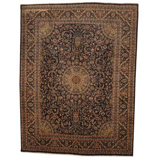 Antique 1970's Persian Hand-knotted Mashad Navy/ Ivory Wool Rug (9'10 x 13')