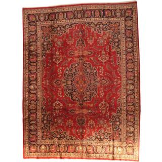 Antique 1960's Persian Hand-knotted Mashad Red/ Navy Wool Rug (10' x 13'4)
