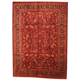 Antique 1960's Persian Hand-knotted Mashad Burgundy/ Navy Wool Rug (9'7 x 12'5)
