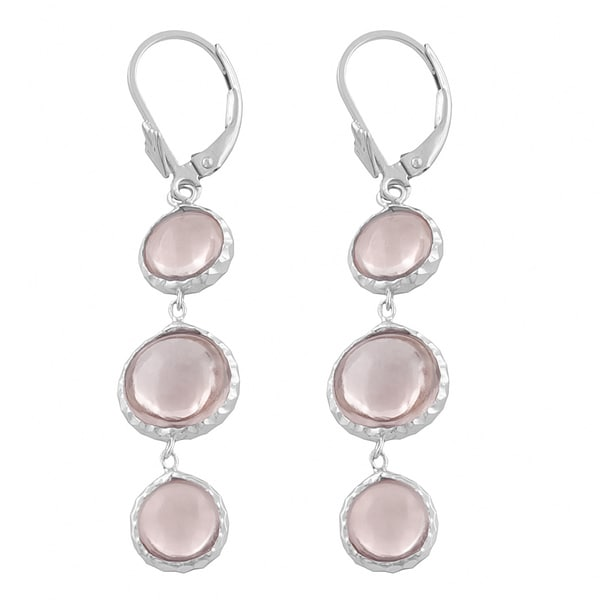 Fremada Sterling Silver Three Round Pink Amethysts Dangle Earrings