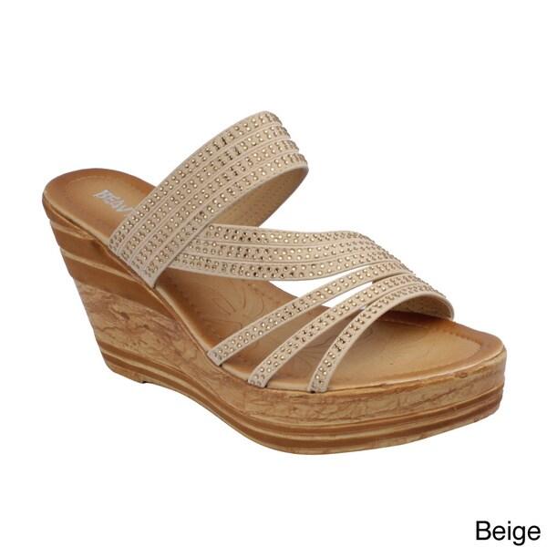 Beauty Heel Women's 'Rosie-22' Strappy Slide Wedge Sandals
