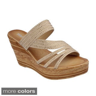 Beauty Heel Women's 'Rosie-22' Strappy Slide Wedge Sandals