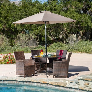 Christopher Knight Home Moonlight Circular Outdoor Cast and Wicker 5-piece Set