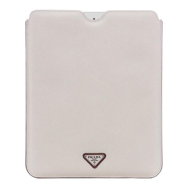 Prada Powder and Garnet Reversible Saffiano Leather iPad Case