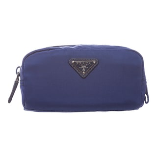Prada 'Vela' Cobalt Nylon Zip-around Cosmetic Case