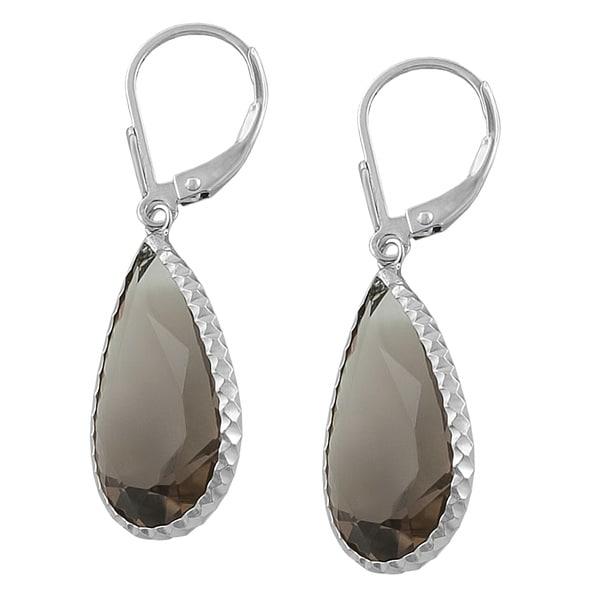 Fremada Sterling Silver Pear-shaped Smokey Quartz Drop Earrings