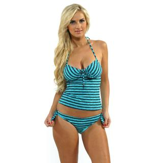 Oakley Women's Cyber Blue Tankini Top with Reversible Tie-side Hipster Bottoms