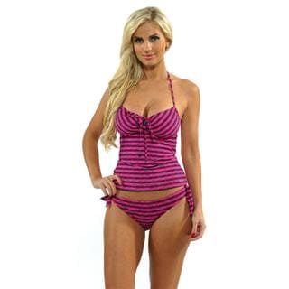 Oakley Women's Pink Blast Tankini Top with Reversible Tie-side Hipster Bottom