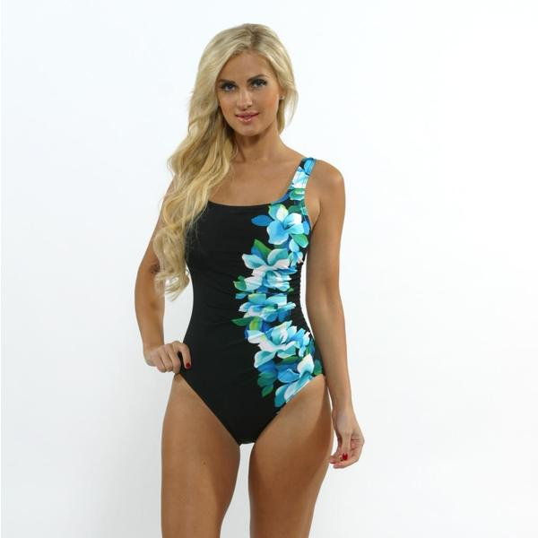 Miraclesuit Women's 'Sideswipe' Blue Floral Print One-piece Swimsuit