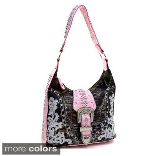 Mossy Oak Rhinestone Buckle Embellished Hobo Bag